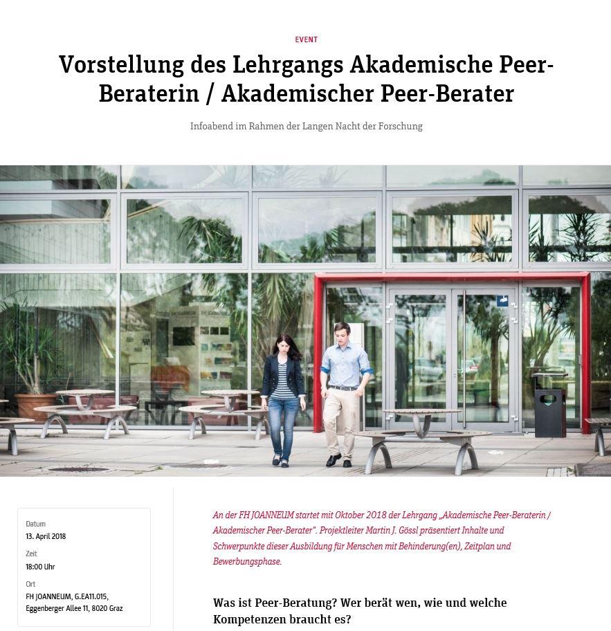 Vorstellung des Lehrgangs Akademische Peer-Beraterin / Akademischer ...