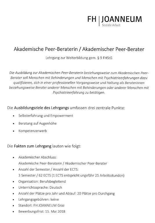 Akademische Peer-Beraterin / Akademischer Peer-Berater
